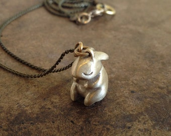 Solid Cast Brass or Sterling Silver Bunny Pendant