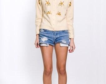 The Vintage Beige Beaded Sweater Cardigan