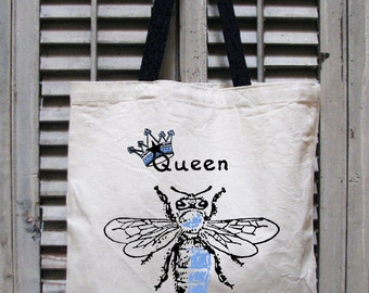 tote bag canvas - market tote - eco tote - boss gift - boss lady - girl boss - queen bee shirt - book bag - book tote - QUEEN BEE - tote bag