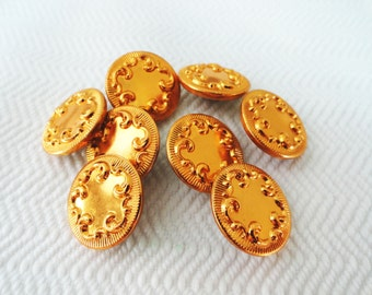 Pumpkin Metal Vintage Buttons - 8 in Your Choice of Sizes