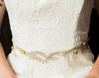 Parisa wedding belt with vine and crystal detailing