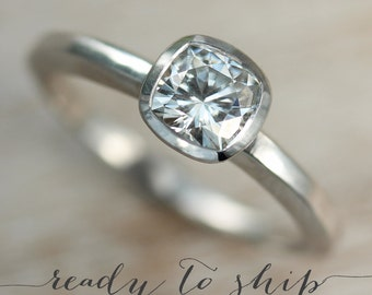 READY TO SHIP - 5mm Cushion Cut Engagement Ring - Unique Solitaire Engagement Ring - In Palladium Size 5.25 with a Matte or Shiny Finish
