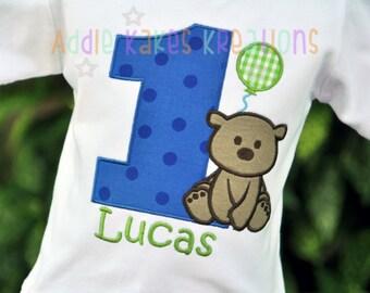 Teddy Bear Birthday Shirt - Personalized Bear Birthday Shirt - Bear Birthday Shirt - Bear Party - Balloon - First Birthday - Boys Bear Shirt