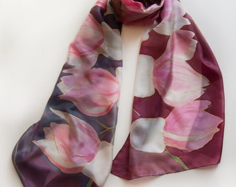 Silk scarf Pink Magnolia/ Maroon scarf painted/ Long floral shawl/ Lightweight scarf, Silk shawl handpainted/ Luxury gift mom/ Silk painting