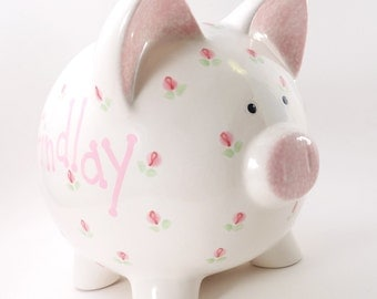 Rosebuds Piggy Bank - Personalized Rosebud Bank - Ceramic Piggy Bank with Flowers - Girl's Piggy Bank - with hole or NO hole in bottom