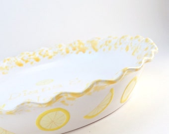Lemon Meringue Pie Dish - Personalized Pie Plate - Lemon Cream Pie Plate - Deep Dish Pie Plate - Hand Painted Pie Dish - Made in the USA