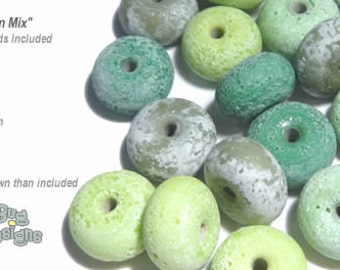 ACCENT Handmade Lampwork Beads 15 Spacers Ancient Matte Look Green Mix Rustic Matte Finish by Desert Bug Designs