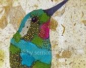Hummingbird Bird Art Collage Giclee Fine Art Print