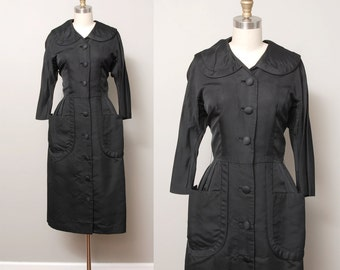 1950s Dress - Black Peter Pan Collar 50s Dress with Hip Pockets