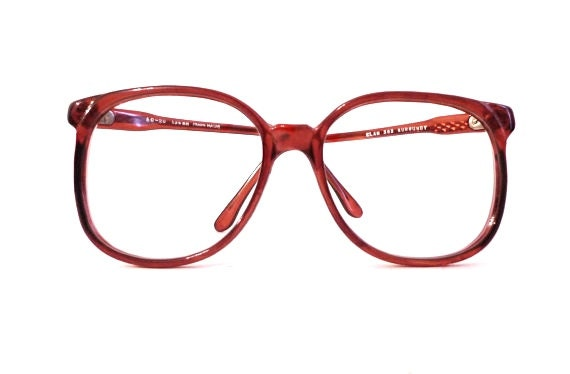 Big Red Frame Glasses : Vintage NOS Big Red Burgundy Round Eye Frames / 1980s Berry