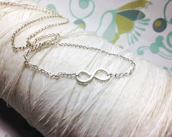 Forged Sterling - infinity symbol necklace / infinity necklace / infinity pendant / sideways infinity necklace / figure eight