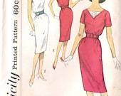 Simplicity 3433 UNCUT 1960s Sheath Dress Vintage Sewing Pattern Mad Men Style Wiggle Dress V-neck Dress Size 11 12 Pencil Skirt