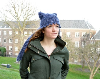 Chunky Cat Ear Flap Hat - Blue Tweed - Hand Knit Womens hat