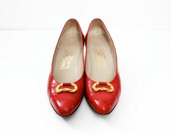1980s Red Salvatorre Ferragamo Shoes