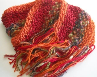 Extra Long Knitted Handmade Scarf in Red and Orange