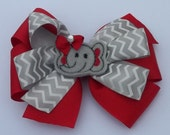 bama elephant cheveron hairbow girls red grey ribbon embroidered elephant applique great game day hairbow