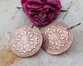 Big copper mandala earrings rustic wedding jewelry bridesmaid jewelry gifts for her handstamped jewelry metalwork jewelry handmade earrings