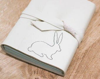 Little Rabbit Journal - 6 x 4 Hand Embroidered Blank Book - A6 Soft Wrap Cover