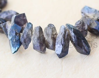 Mist Blue Amethyst Crystal Point Beads , AB Mystic Titanium Coated  25-35mm Top Drilled