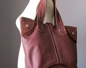 Brown leather bag, cow hide handbag, oversized leather purse, tote market bag
