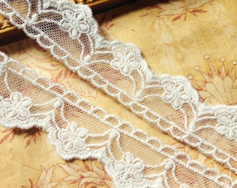 2 yd French Cotton Tulle Embroidered Bridal Lace Trim Soft Ivory Floral Scalloped Edge 1""