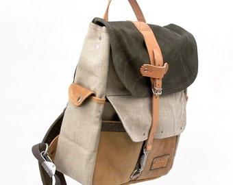 Beige Olive Canvas Backpack, Army Material Canvas Bag, Recycled Leather Jacket, Recycled German Duffel Bag / Upcycled in Germany-2122