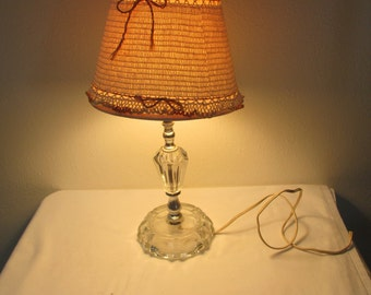 Lamp and Shade with Crocheted Cover