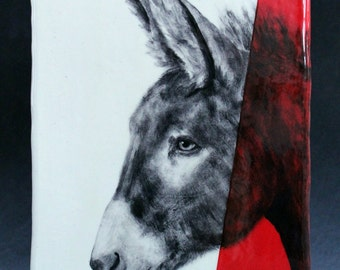 Hand Painted Donkey Portrait Wall Tile Red