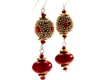 Long Dangling Red Afghan and Wood Bead Earrings on Sterling Silver Ear Wire