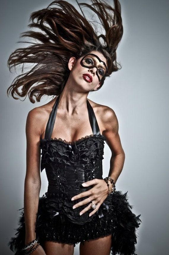 BURLESQUE COSTUME Black Swan feather steampunk dress