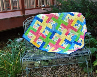 Handmade Cotton Play Quilt Toddler Bedding Sunny Paisley 40 by 40 bright colors nap quilt toddler bedding Quiltsy Handmade