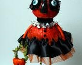 Halloween Gourd Pumpkin Folk Art Sculpted  Holiday Paper Mache Art Doll