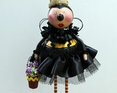 Folk Art Bumblebee Bee Whimsical Sculpted Art Doll