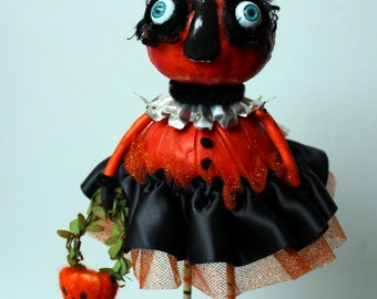 Halloween Gourd Pumpkin Folk Art Sculpted  Holiday Paper Mache Art Doll