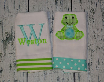 Personalized  Frog Burp Cloth Set of 2 Burpies MONOGRAM