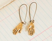 HAND EARRINGS Charms Gold Hand Frida Kahlo Whimsical Palmistry Fortune Teller Jewelry Horror Macabre Costume Jewelry