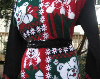 tacky ugly Christmas sweater, METALLIC TWINKLING Pop Art Bears 1980s XL Holiday sweater size Extra Large oversized full figured pullover