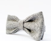 READY TO SHIP Mens Bow Tie - Grey Yorkshire Wool Tweed