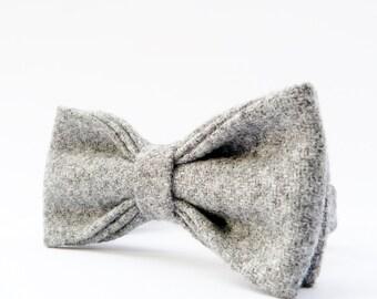 Mens Bow Tie - Grey Yorkshire Wool Tweed