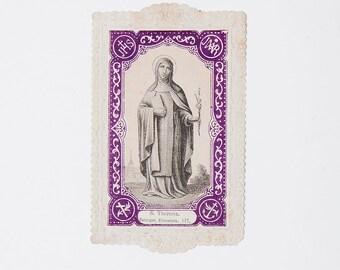 Large French vintage prayer card, St Teresa