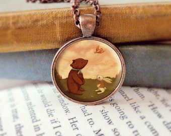 Bear Necklace, Bunny Pendant, Bear Jewelry, Bunny Animal Necklace, Animal Art, Animal Jewelry, Kids Jewelry Children - A Little Bird Told Me