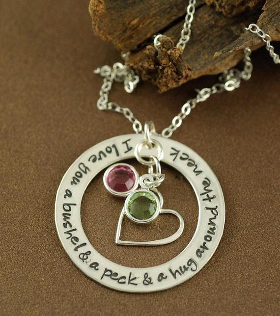 I Love You A Bushel And A Peck Necklace: I Love You A Bushel And A Peck Necklace Birthstone By AnnieReh