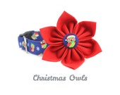Christmas Dog Collar Flower Set,  Cat Collar Flower Set - Christmas Owls