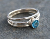 Blue Topaz Ring, Blue Ring, Topaz Stacking Rings- Made to Order
