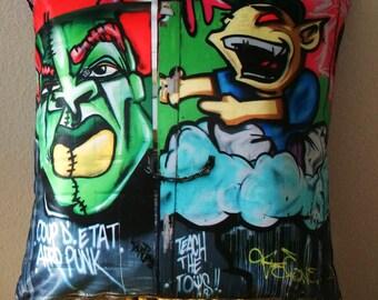 Graffiti Pillow cover, street art pillow, Brooklyn, New York, urban, home decor, hip hop, pop art pillow