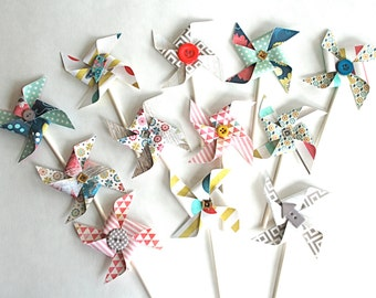 Fresh Colors and Designs - Pinwheel Cupcake Toppers/Party Picks