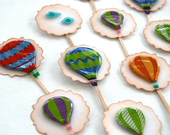 Glittery Hot Air Balloons and Clouds - Cupcake Toppers