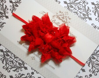 Red Bow Headband, Glitter Hair Bow, Baby Headband, Red Headband, Ruffled Chiffon Headband, Girls Headband, Toddler Headband, Red Hair Bow