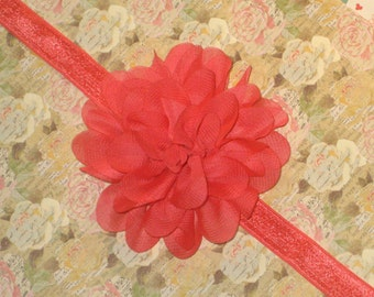 Coral Flower Headband, Coral Chiffon Baby Headband, Baby Hair Bow, Coral Headband, Toddler Headband, Newborn Headband