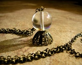 """Crystal Ball necklace, Fortune Teller necklace, 18 mm Czech crystal ball pendant on a 24"""" antique brass rolo chain with a lobster clasp"""